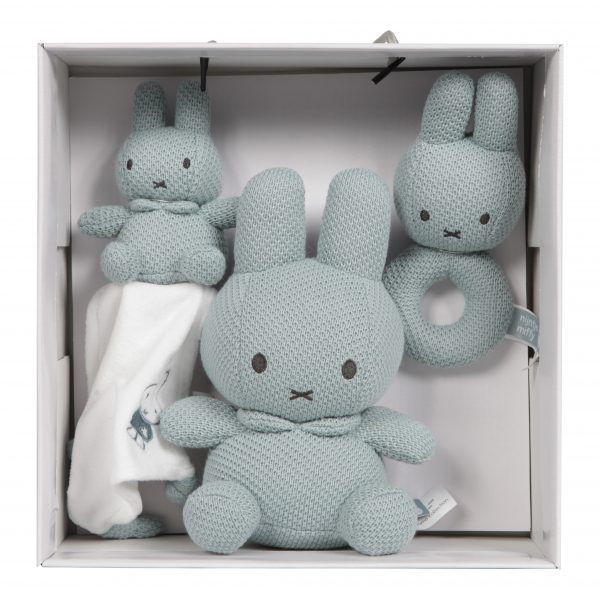 BABY OLIVER Σετ δώρου λούτρινο-πανάκι παρηγοριάς-κουδουνίστρα Miffy Mint
