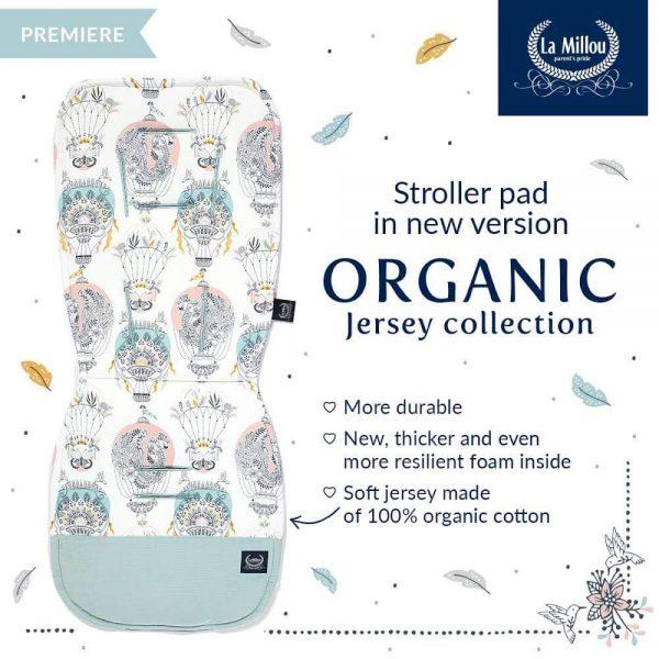 LA MILLOU Organic Jersey Stroller Pad On the Road - Smoke Mint